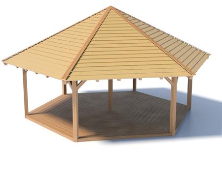 Holzpavillon mit Holzboden