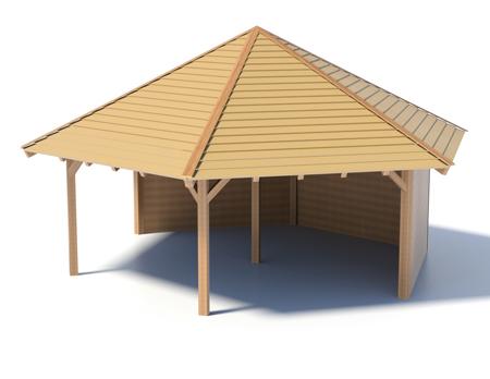 Holzpavillon mit Holzboden und Seitenwänden